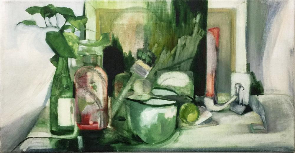 Studio Things , 2017 oil on linen 41 x 77 cm