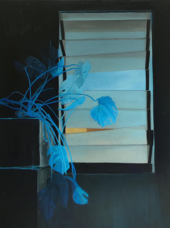 Blue Louvres , 2019 oil on linen 120 x 90 cm