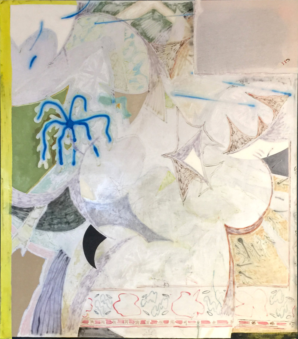 JORDAN GRANT  Painting for New Folk Ruins , 2019 oil and graphite on canvas, waxed linen thread and found plain white rag 168 x 148 cm