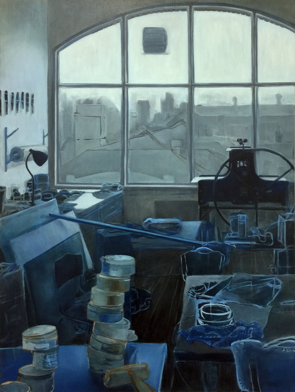 ANGELA CHAUVIN  Blue Print Room , 2019 oil on linen . 120 x 90 cm