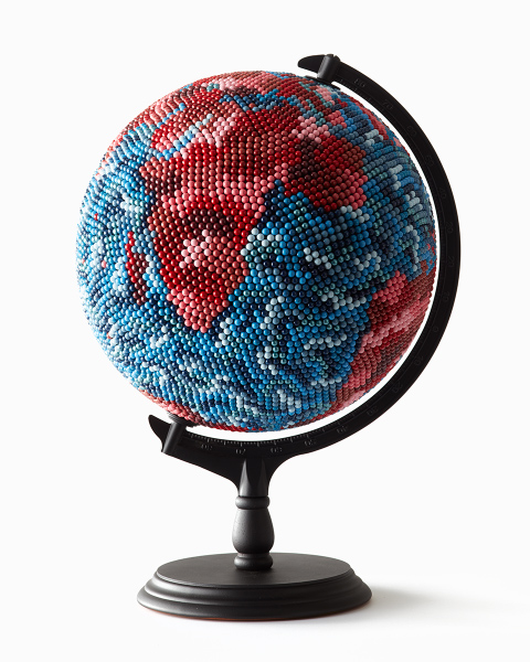 JOANNE MOTT   Mad World , 2016 wood, metal, acrylic, map pins (10,000 approx), papier maché, foam. 50 x 30 x 30 cm