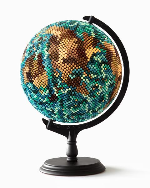 JOANNE MOTT   Living in Another World , 2017 wood, metal, acrylic, map pins (10,000 approx), papier maché, foam. 50 x 30 x 30 cm