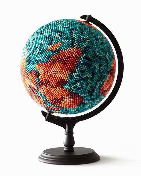 JOANNE MOTT   Top of the World , 2016 wood, metal, acrylic, map pins (10,000 approx), papier maché, foam. 50 x 30 x 30 cm