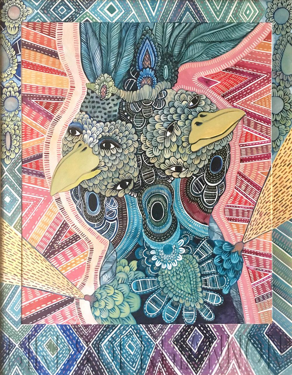 CECILIA FOGELBERG  BIRDS OF RHIANNON , 2019 gouache and watercolour on 100% cotton rag board, framed 87 x 68 cm