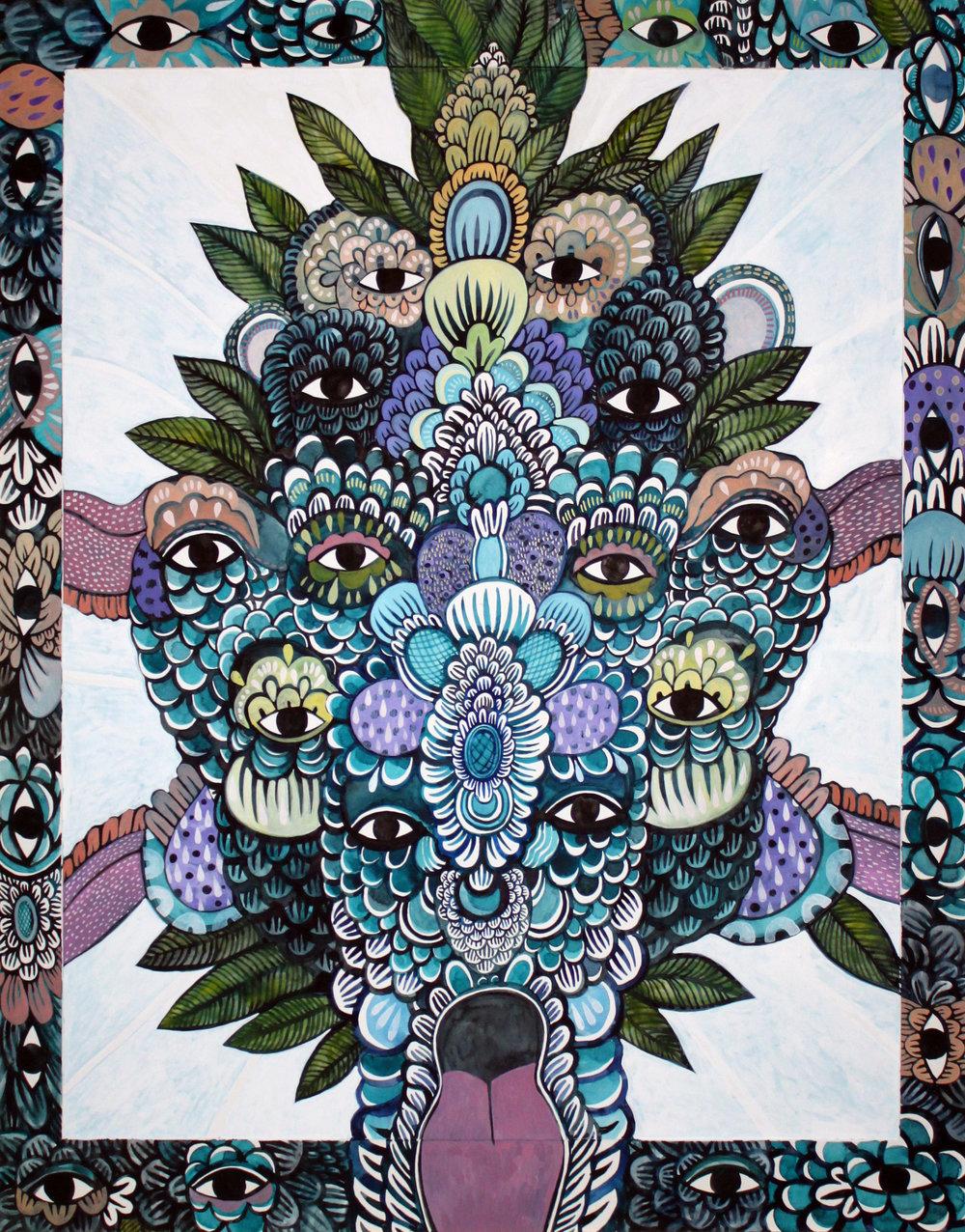 CECILIA FOGELBERG  Mayhem Cluster #1 , 2019 gouache and watercolour on 100% cotton rag board, framed 87 x 68 cm