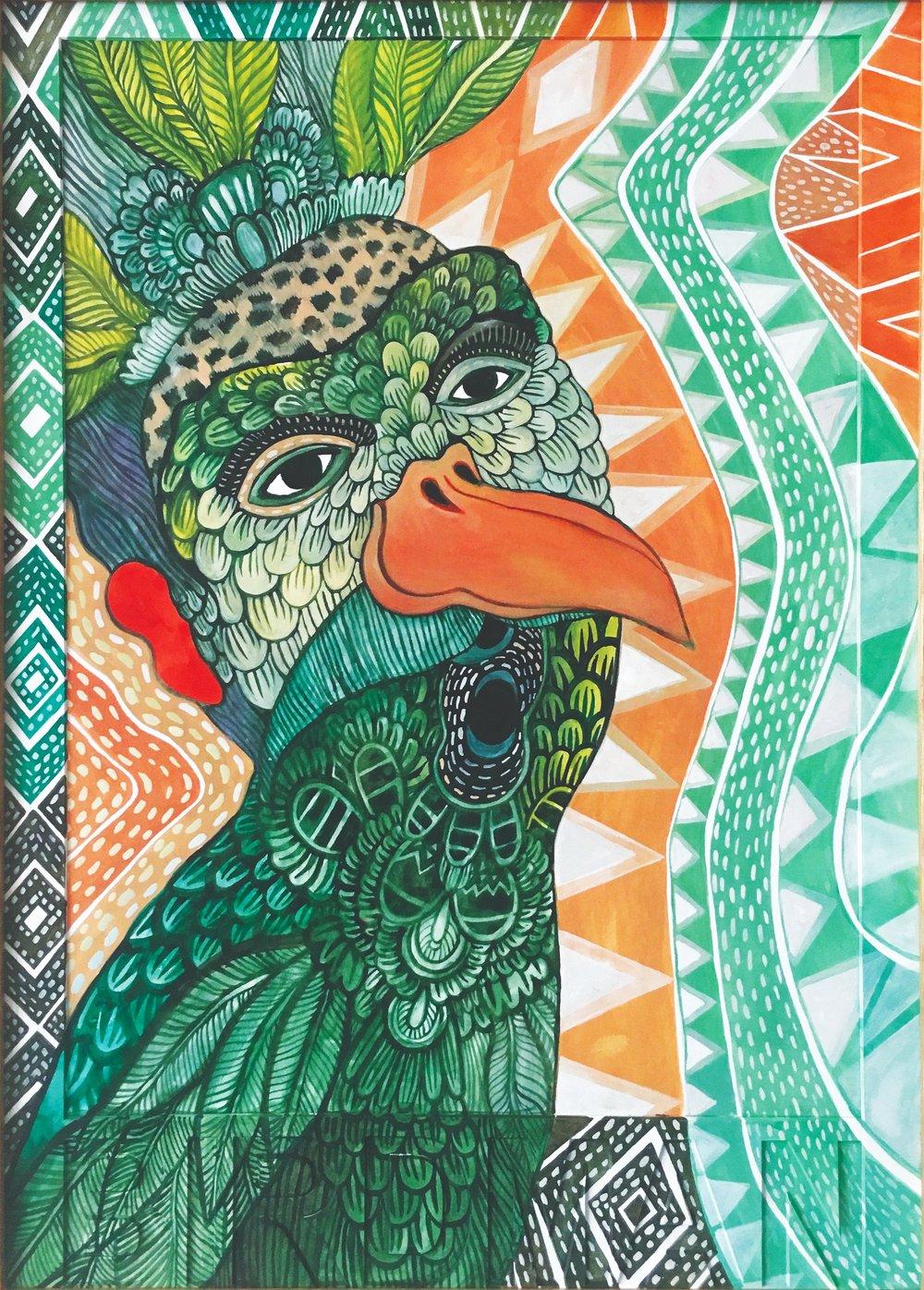 CECILIA FOGELBERG  BIRDMAN (green) , 2019 gouache and watercolour on 100% cotton rag board, framed 61 x 43 cm