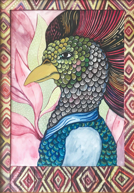 CECILIA FOGELBERG  BIRDMAN (Mohawk) , 2019 gouache and watercolour on 100% cotton rag board, framed 61 x 43 cm