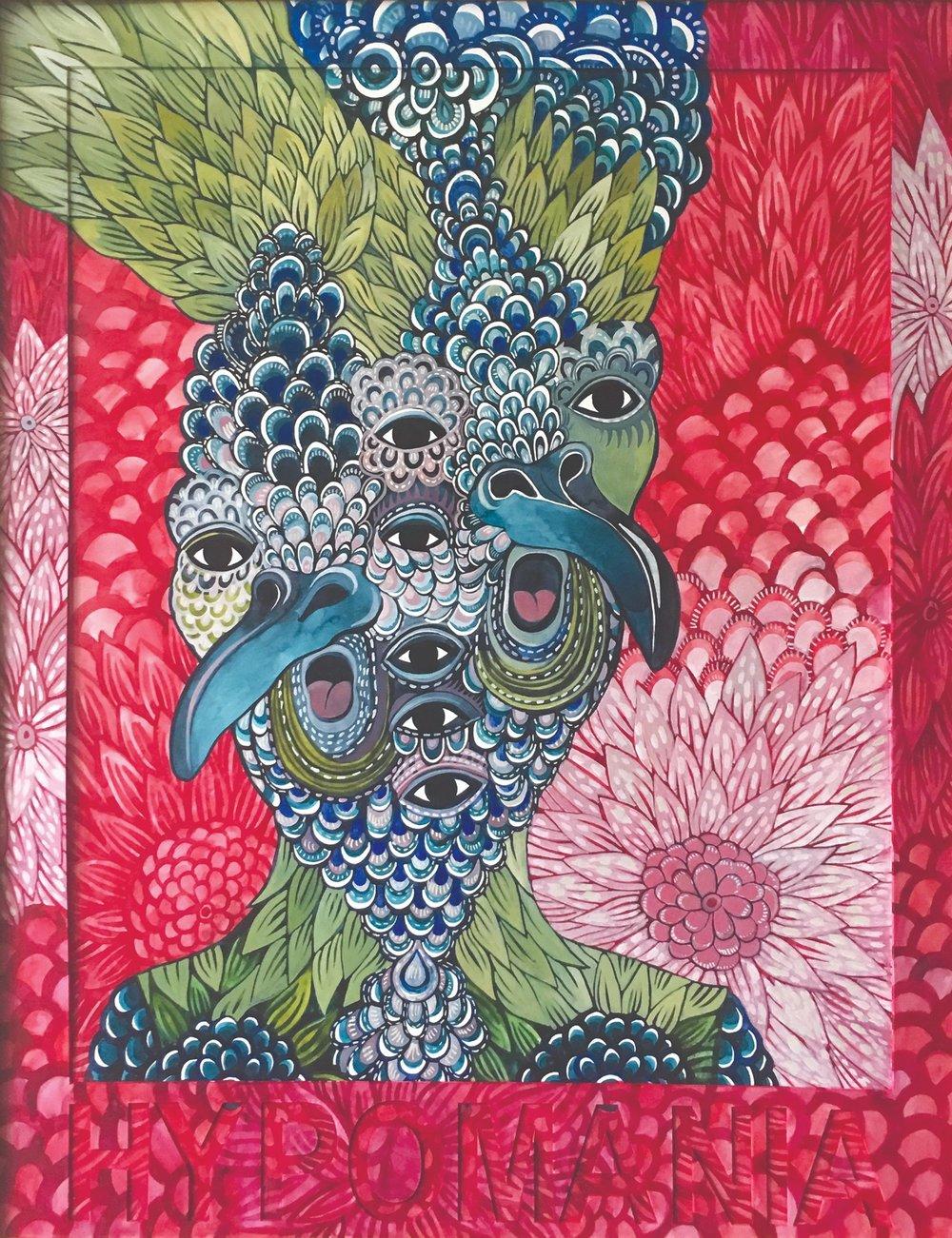 CECILIA FOGELBERG  HYPOMANIA , 2019 gouache and watercolour on 100% cotton rag board, framed 87 x 68 cm