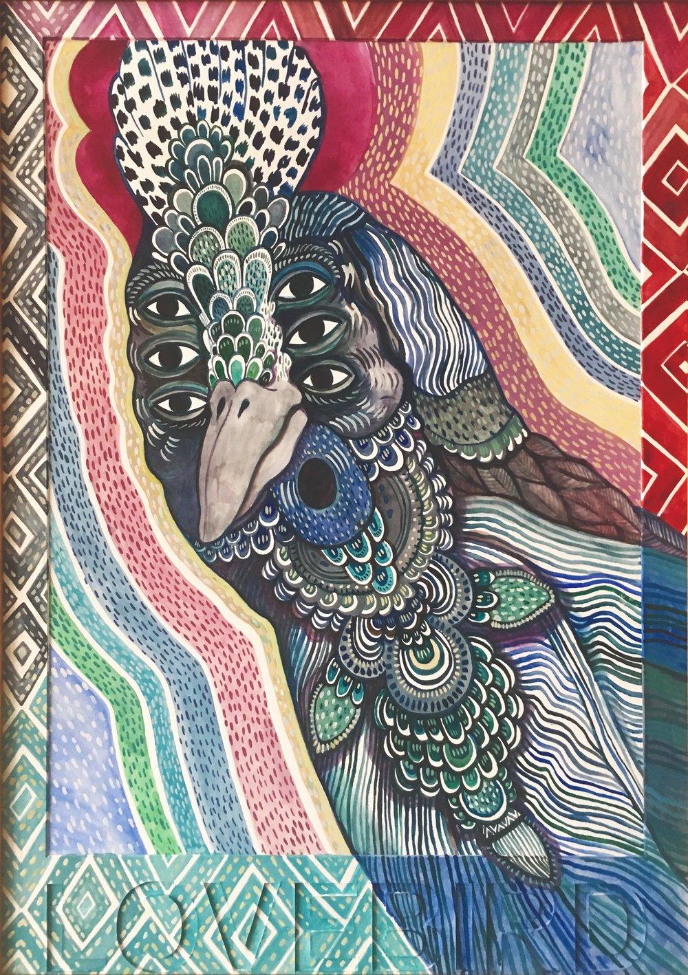 CECILIA FOGELBERG  LOVEBIRD (six eyes) , 2019 gouache and watercolour on 100% cotton rag board, framed 61 x 43 cm