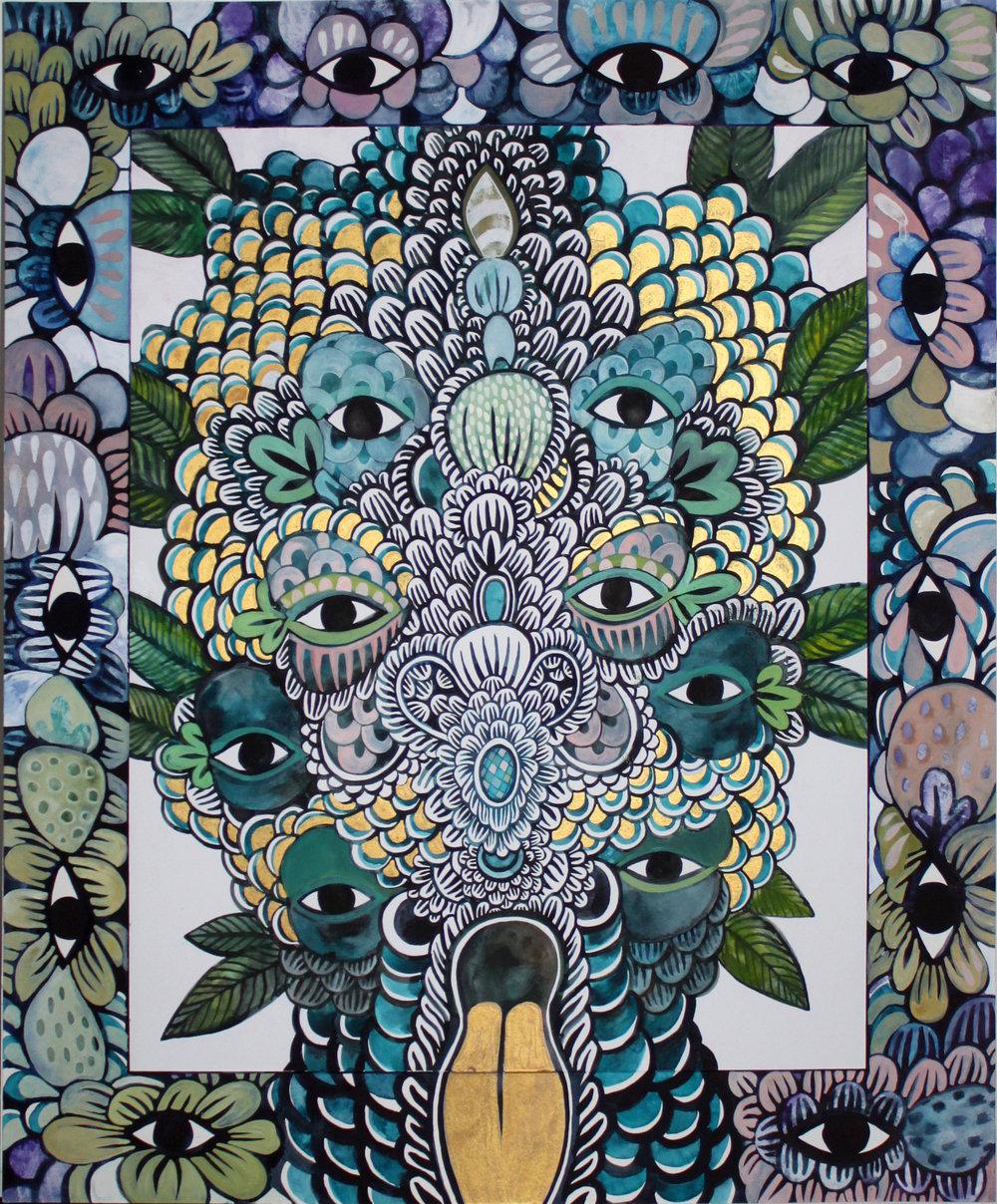 CECILIA FOLGELBERG  MAYHEM CLUSTER #2 , 2019 gouache and watercolour on 100% cotton rag board, framed 87 x 68 cm   I ENQUIRE I