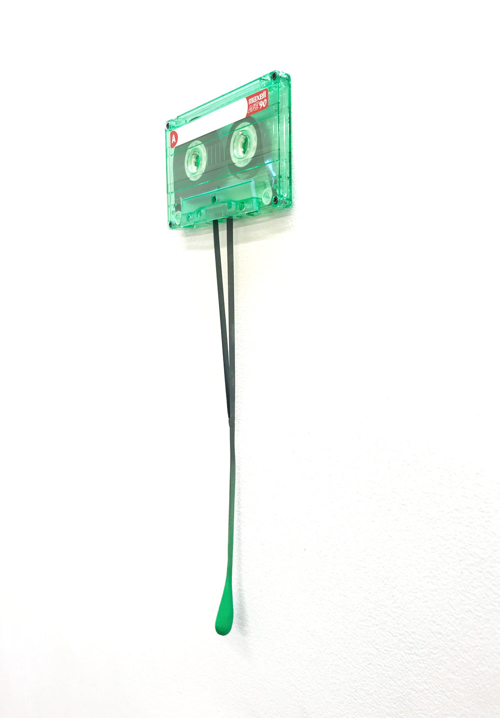 Jason Waterhouse  Mixed Tape (Green)  2018 cassette, steel, paint 30 x 10 x 1 cm