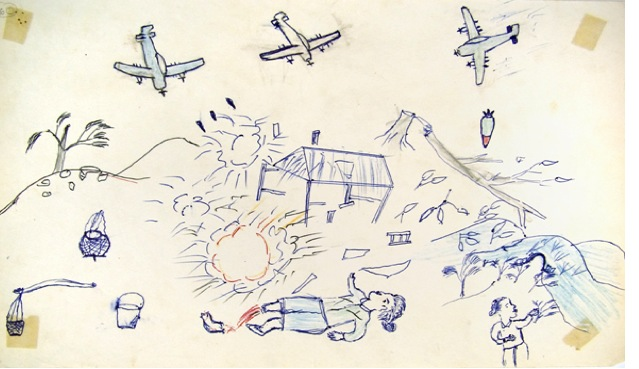 An illustration by a refugee of American bombing during the Secret War, from Fred's book
