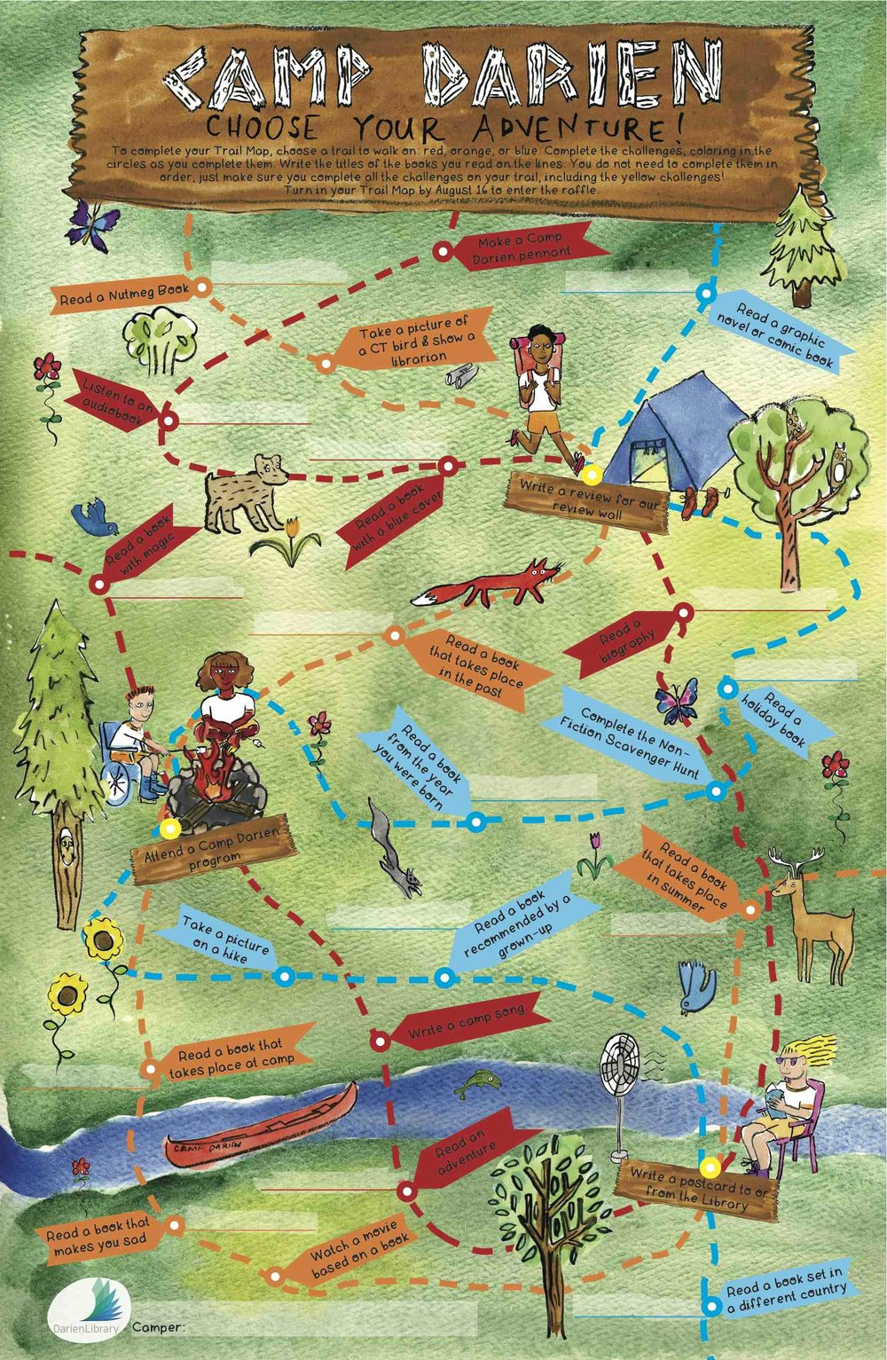 Trail Map for Darien Library's Summer Reading 2017