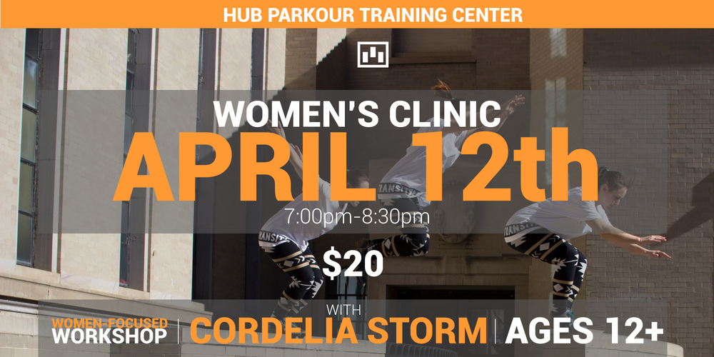 We'll be hosting our first women-focused workshop here at HUB!  We have an amazing coach visiting Boston for our inaugural HUBBABLE jam and we thought we'd utilize her awesome coaching prowess to run a workshop centered towards girls and women of all ages to get into - or get better - at Parkour!  About workshop: This workshop is open to anyone who identifies as female, 12+ years old. Cordelia will be sharing how to break down seemingly hard parkour movements into obtainable progressions (such as the kong vault, climb up, laches, and others), and how to develop a healthy mentality to build up courage and self-trust. Some basic physiology of how to strengthen correct muscle groups for building bigger jumps will be covered as well!