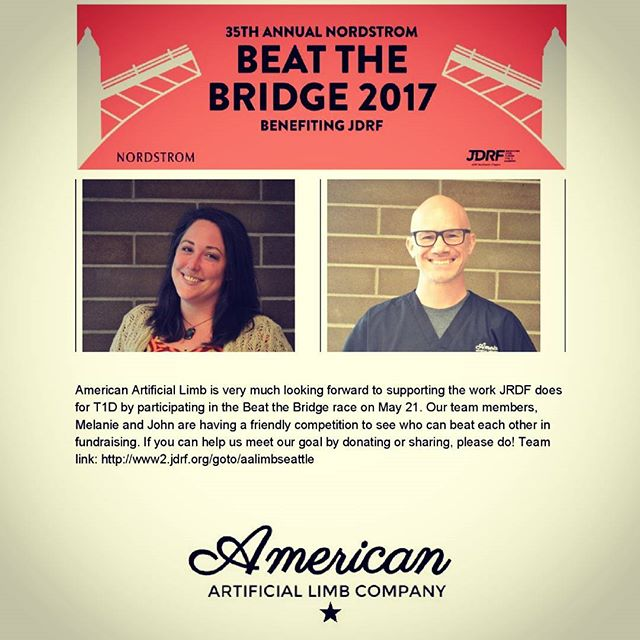 Looking forward to the #beatthebridge race on 5/21/17! #jrdf #fundraising #seattle #americanartificiallimb #aalimbseattle