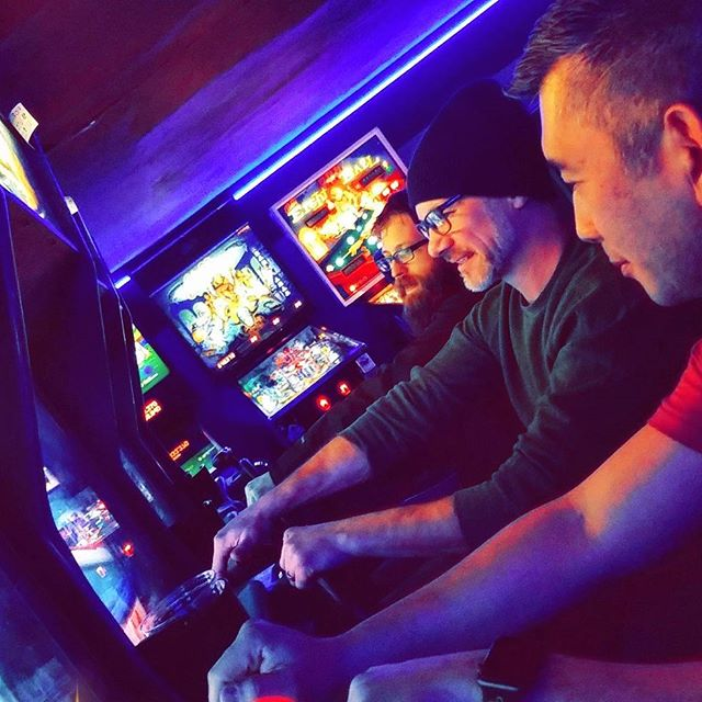 2017 Holiday Party ended with video games at FlipFlip, Ding Ding! Donn, John, and Erik racing each other before heading back to pinball. (Photo by Nicole) . . . . #aalseattle #americanartificiallimb #smallbusiness #seattle #georgetownseattle #happyholidays #2017holidayseason #celebrate #videogames #flipflipdingding #orthotics #prosthetics