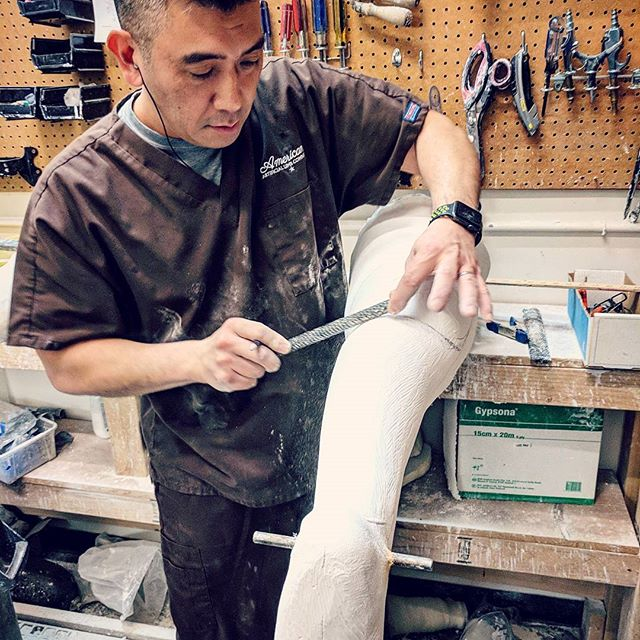 Donn, in the zone, working on a patient's cast to mold a KAFO brace. . . . . #aalimbseattle #americanartificiallimb #seattle #smallbusiness #o&p #orthotics  #prosthetics #georgetownseattle #washingtonstate #kafobrace