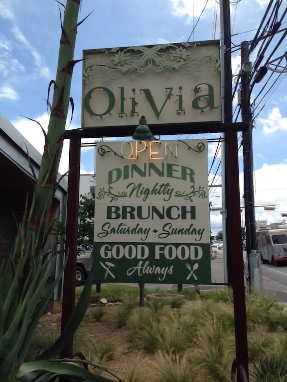 Olivia Restaurant Austin Sign