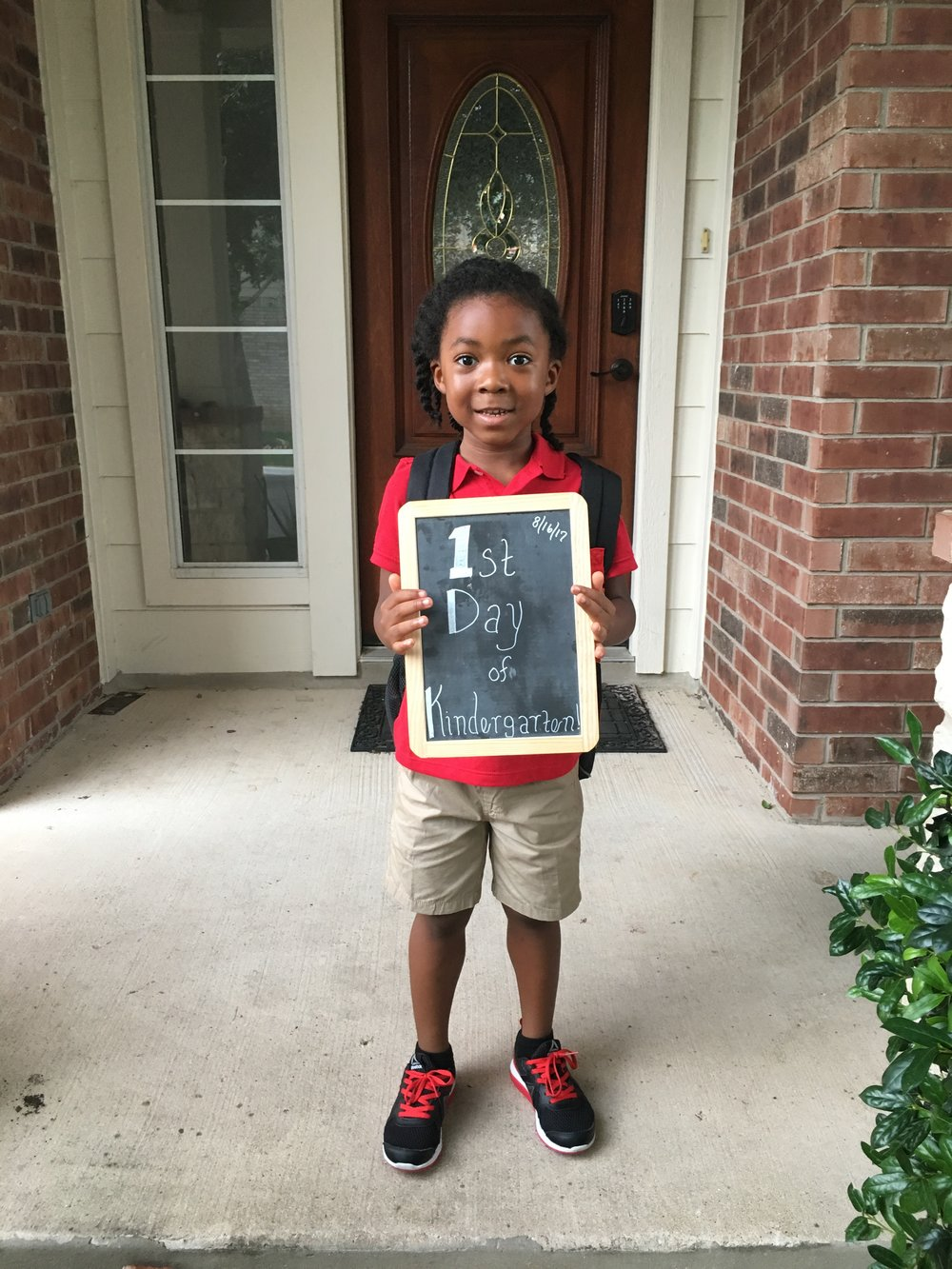 Obligatory 1st day of kindergarten capture. He literally counted down the days for about a week.