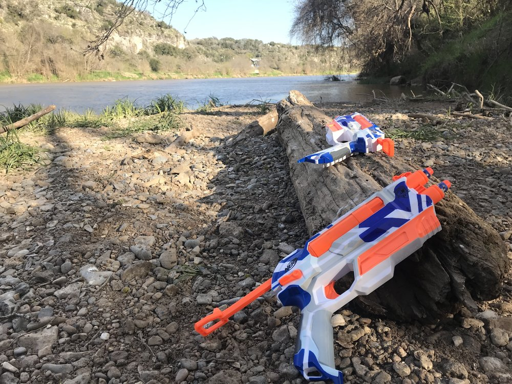Little man brought his Nerf toys for a battle of EPIC proportions in the woods. We lost less darts than we thought we would.