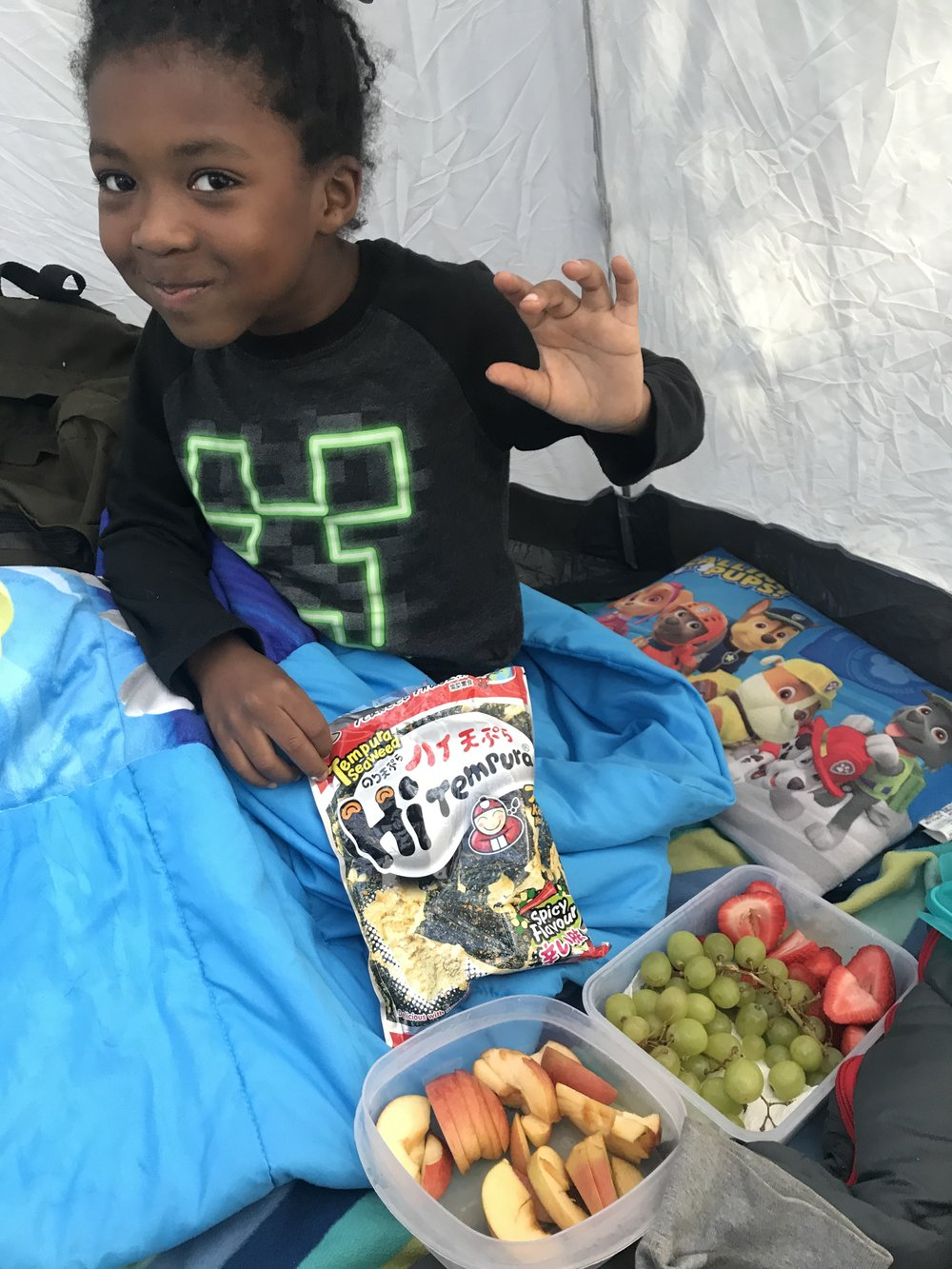 Snack game was crazy in the tent