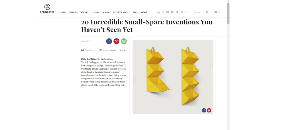 20 Incredible Small-Space Inventions You Haven't Seen Yet - 2015 REFINERY 29, New York, USA Work : Cube Contanier  More info:  www.refinery29.com