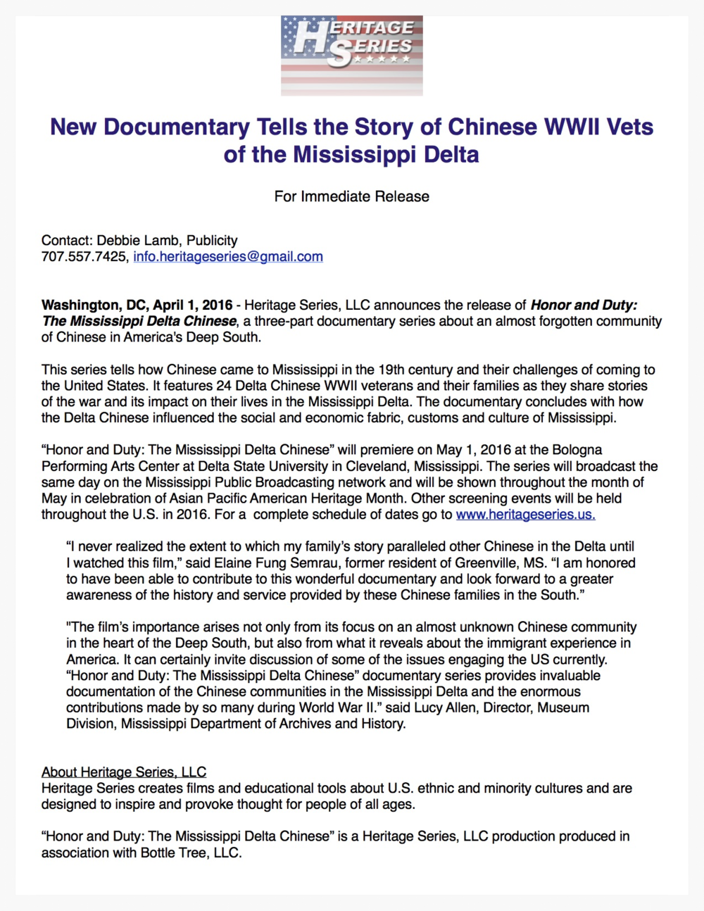 New Documentary tells story of Chinese Veterans of Mississippi Delta