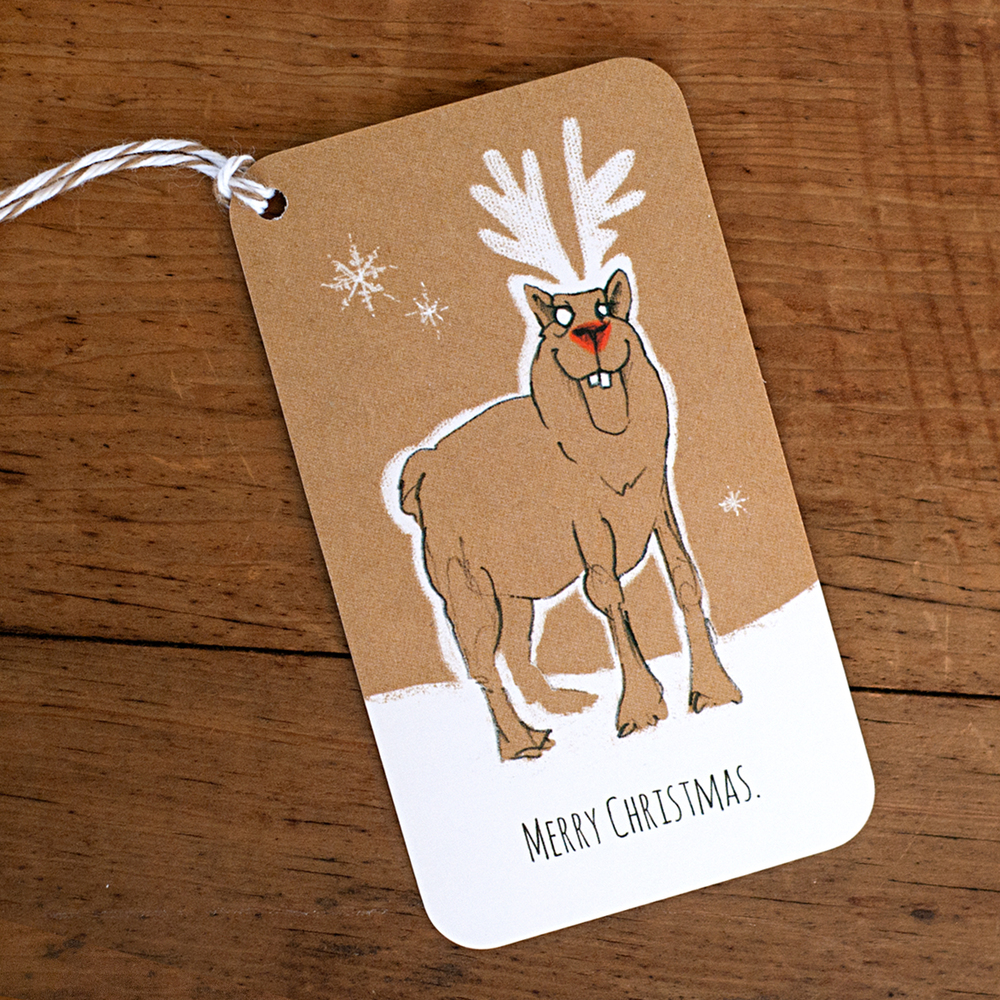 "Merry Christmas Rudolph  2"" x 3.5"" Gift Tag"