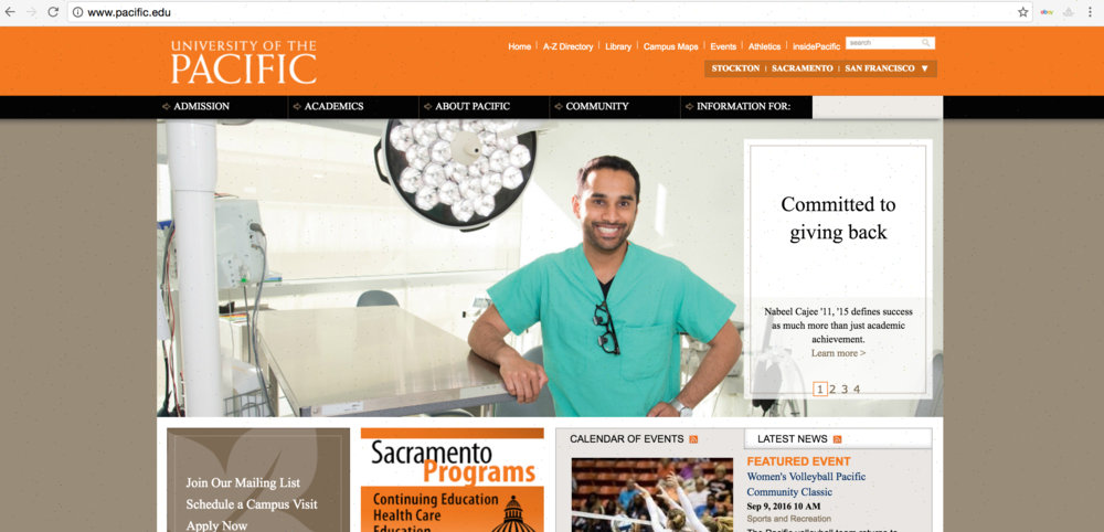 Read Dr. Nabeel Cajee's Feature in University of the Pacific's Alumni Magazine and on the university website's Front Page.