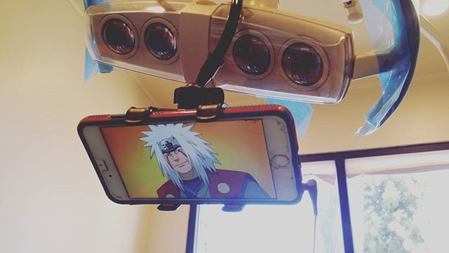When you have dental work done, and you have something to watch on your phone, we can mount your device. Patient Sherry came in today and watched her favorite anime series. #209 #manteca #dentist  #dental #comfort