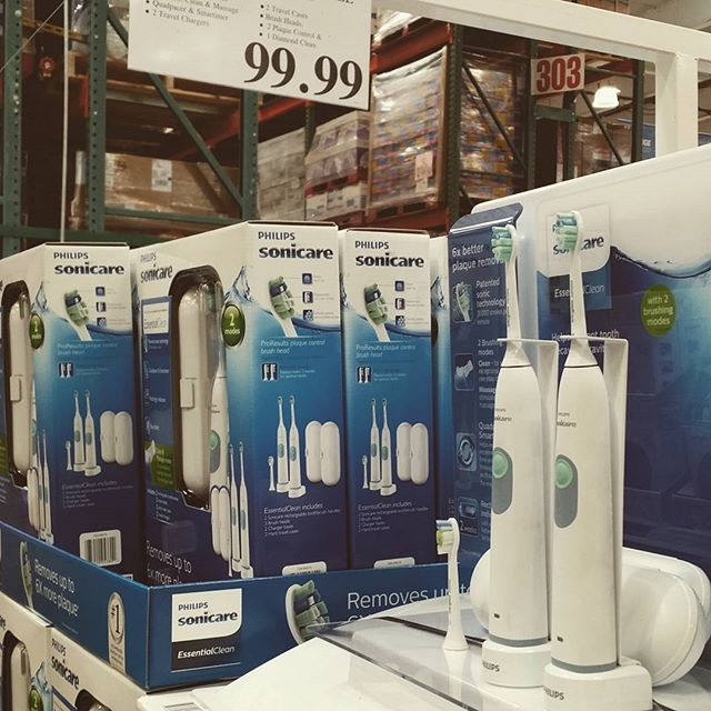 Saw this display at Costco. This seems a little pricier than usual for his and hers Sonicare toothbrushes. These are the brushes we recommend.  #at132 #drcajee