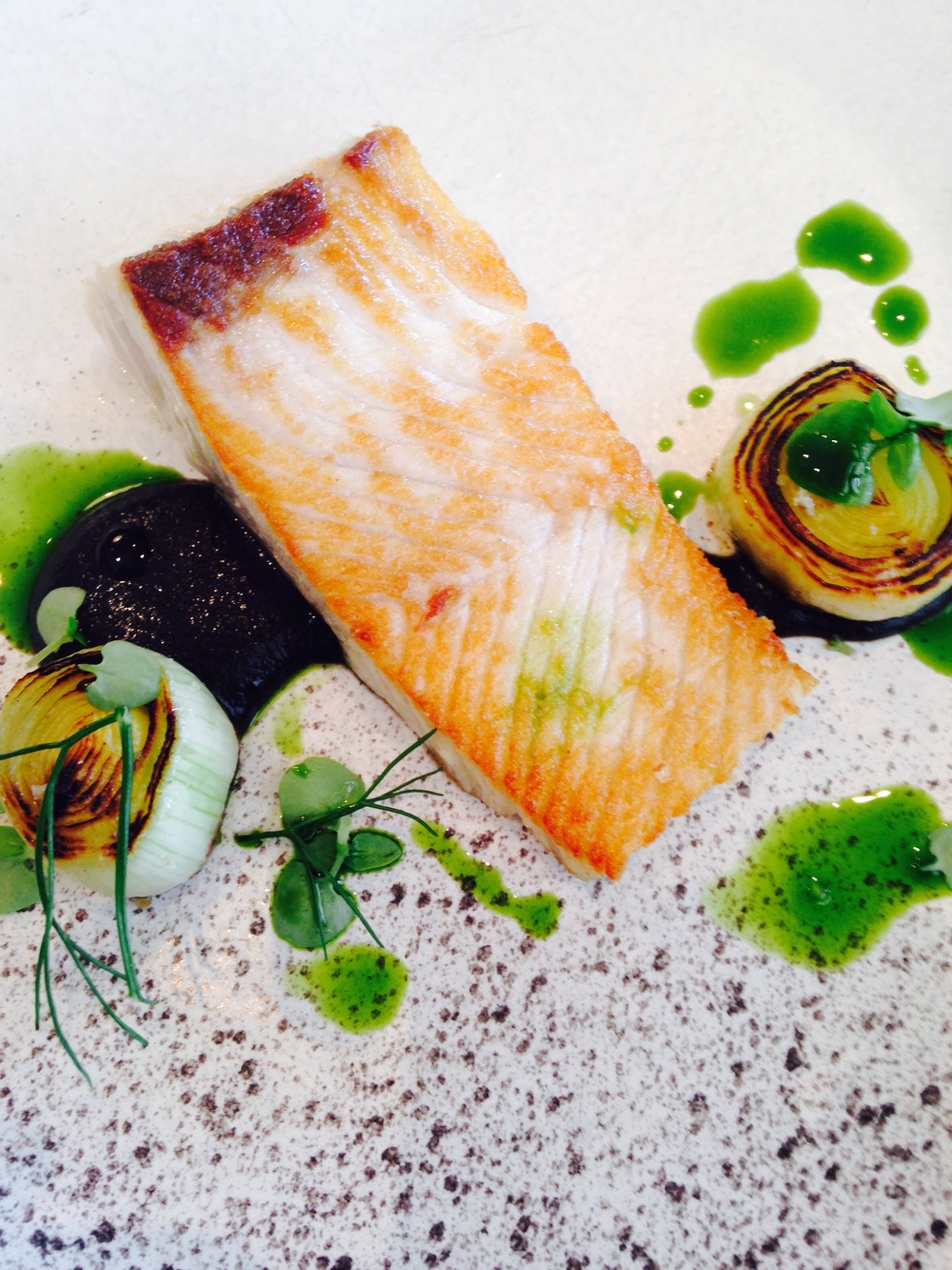 Kingfish, leeks, onion & squid ink puree