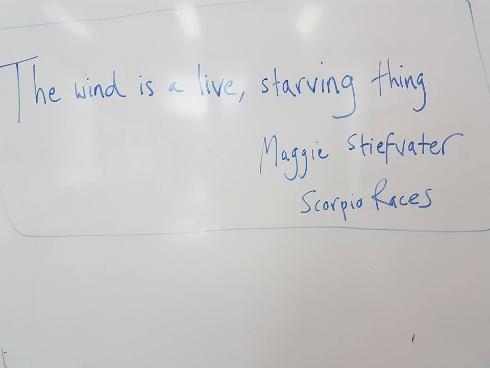 One of my favourite lines of all time. 'The wind is a live, starving thing.' Maggie Stiefvater