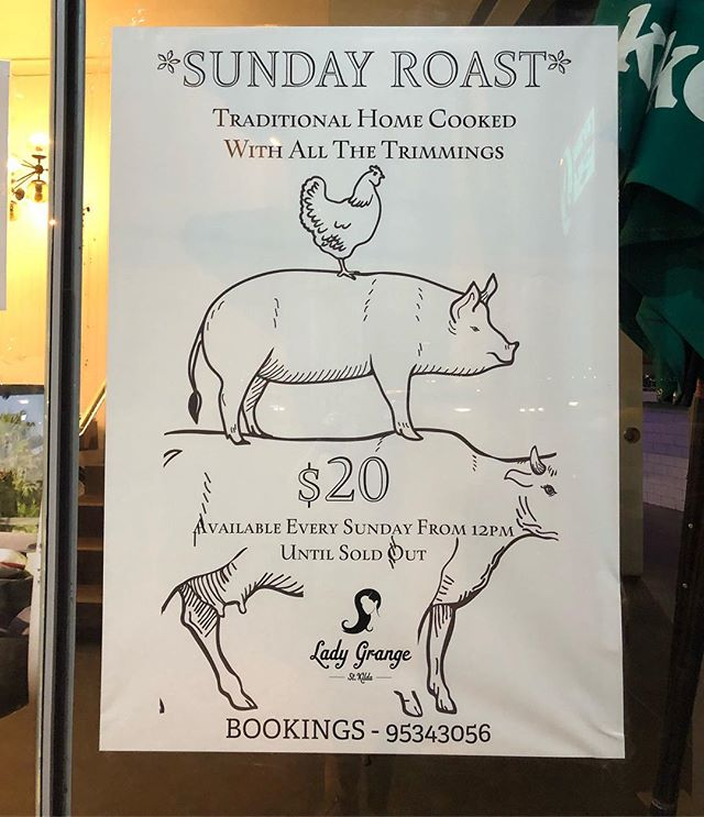 Sunday's are for Roast dinners  Come see us for $20 roast of the day, served from 12noon until sold out  Balcony open for afternoon drinks, it's gonna be a cracking 30 degrees today 💥