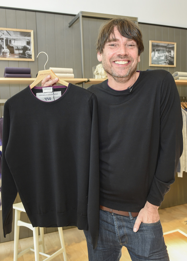 Alex James with his limited edition, John Smedley and Alex James Sweater, for Wool Week.