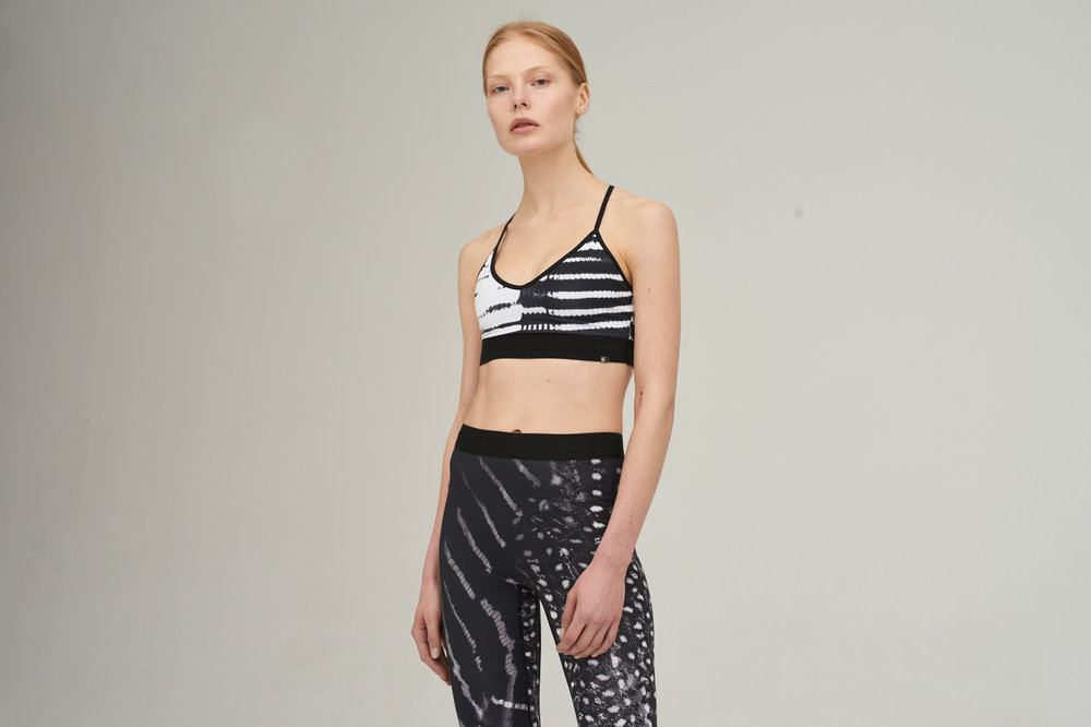 Vyayama Reflection Print Crop Top £98; Vyayama Shadow Print Leggings £140, at  Rêve en Vert.