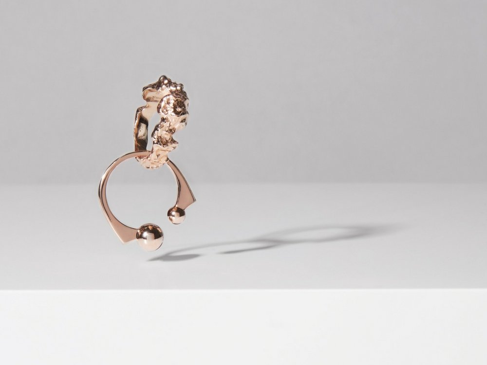 Top:  Meteor Ring by Matthew Calvin   Bottom:  Dotte Rose Ring by John and Pearl