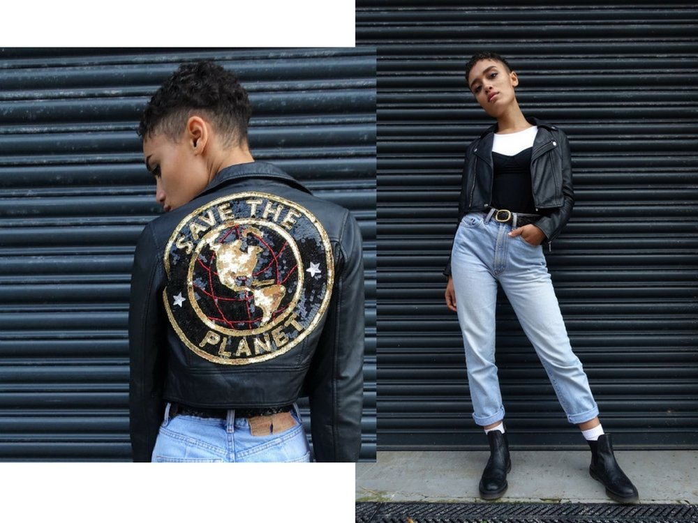Grace rocking her 'Save The Planet' jacket by Pangean