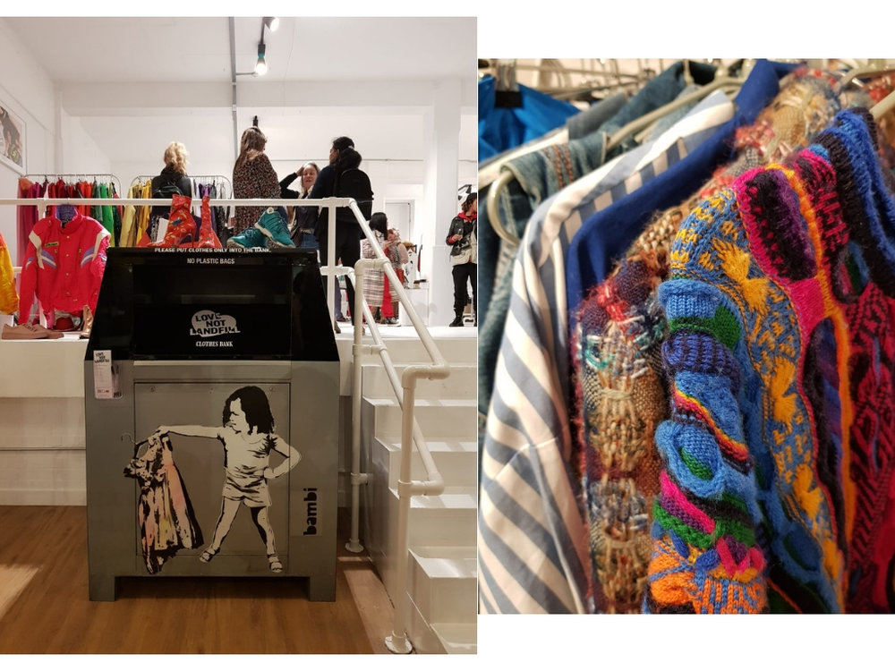 Love Not Landfill's clothes banks featuring street artist Bambi's bespoke TOMBOY design.