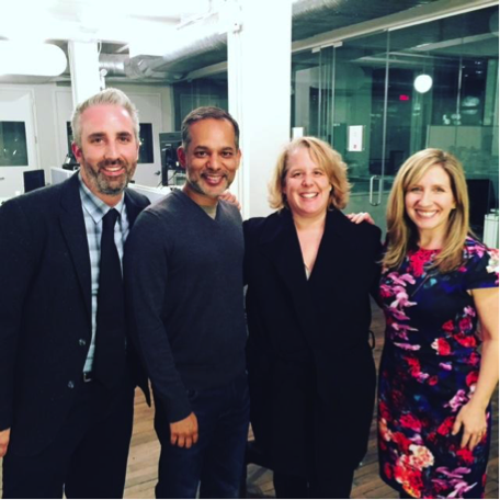 Pictured from left: Michael Jones, Deputy Managing Director of North America, Change.org; Andy Veluswami, Director of Analytics, Change.org; Robert Kaplan, author and attorney; and Jen Dulski, President and COO, Change.org