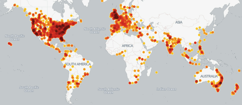 Map visualizes a representative sample of the total number of people who have signed a petition on Change.org that is related to an environmental issue based on relevant cause category, tags, and keywords.