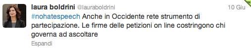 Tweet postato dalla Presidente della Camera, Laura Bldrini, in occasione del seminario sul cyberbullismo organizzato presso la Camera dei Deputati lunedì 10 giugno 2013.