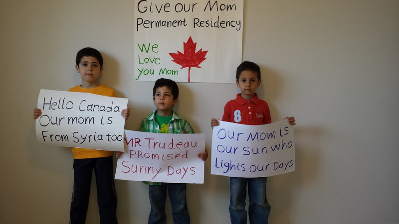 The three children of Dima Siam, who is fighting deportation from Canada to Syria because of a simple paperwork error. All of them live in Ottawa, and all three children are Canadian citizens. We are seeking the same status for Dima Siam as was recently granted to 25,000 other Syrian refugees welcomed to Canada: permanent residency