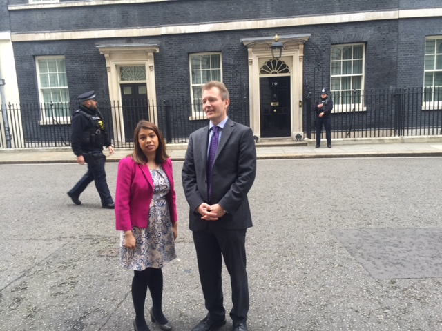Left to right: MP Tulip Siddiq with Richard Ratcliffe outside Number 10 Downing Street