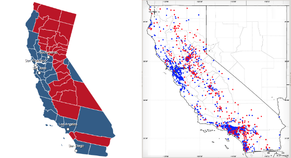 2012 presidential election broken down by county and our political affinity map