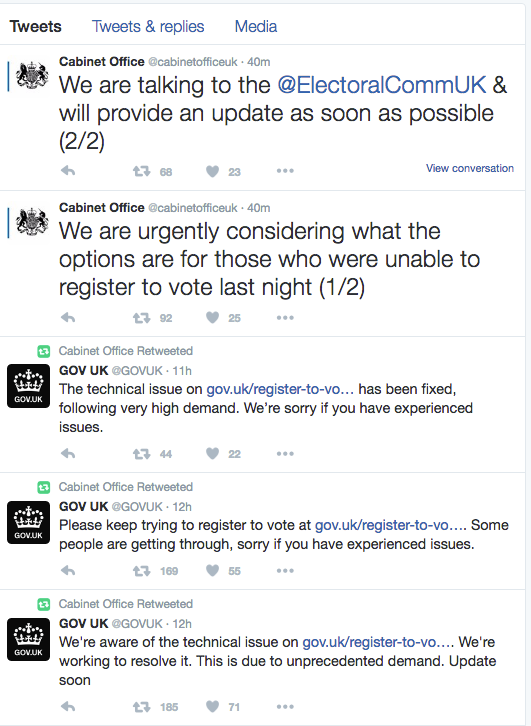Not too late: The deadline for voter registration has been extended until midnight on Thursday