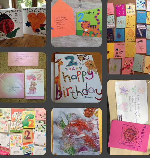Many happy returns: Richard's signers have been sending birthday cards for Gabriella to their nearest Iranian Embassy