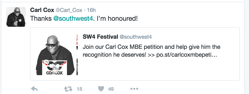 Honoured: DJ Carl Cox has worked in the music business since the 1980s