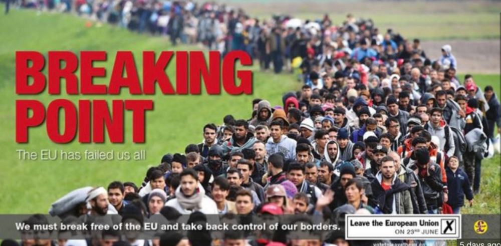 Sub-text: This poster was attacked by Remain campaigners for being anti-immigration