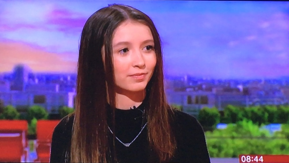 Eggs-cellent: Lucy on BBC Breakfast TV talking about her Tesco eggs campaign victory